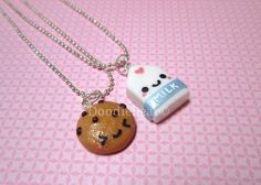 Milk and Cookie Best Friends Kawaii Cute Polymer Clay Necklace - 2 Piece Set