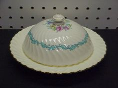 """Minton """"Ardmore"""" S363 Ivory / Turquoise Bone China Round Covered Butter Dish"""