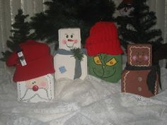 santa, grinch, ginger bread man and snowman painted pavers Christmas Fair Ideas, Christmas Projects, Christmas Decorations, Christmas Stuff, Holiday Ideas, Brick Crafts, Stone Crafts, Snowman Crafts, Holiday Crafts