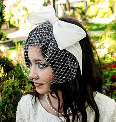Birdcage Veil with Sinomay Bow and Pearls by UrbanVeilsCouture, $125.00