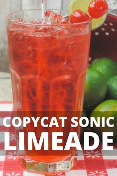 Copycat Sonic Limeade Recipe, a delicious and refreshing lime and cherry sparkling drink recipe that you can make yourse Drinks With Sprite, Drinks With Grenadine, Sonic Drinks, Sparkling Drinks, Kid Drinks, Non Alcoholic Drinks, Summer Drinks, Beverages, Cocktails