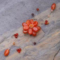 Carnelian and garnet brooch pin, 'Golden Bouquet' - Handcrafted Carnelian Flower Brooch Pin | NOVICA #falljewelry #fallseason #fallaccessories #fallfashion #autumnjewelry #brooches #flowerbrooches
