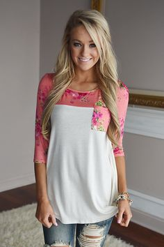 Spring Garden Floral Top ~ Coral – The Pulse Boutique