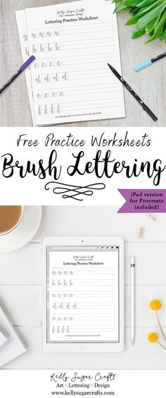 Lettering Practice Worksheets Cherry - ipad - Ideas of ipad - Lettering Practice Worksheets Printable. Learn brush lettering with these free sheets. Print out or practice on iPad using Procreate Lettering Guide, Lettering Tutorial, Lettering Design, Lettering Ideas, Creative Lettering, Lettering Styles, Hand Lettering Practice, Calligraphy Practice, Calligraphy Fonts