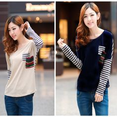 New Casual Women T-shirt Stripe Blouse Long Sleeve Tops Color Block Shirt