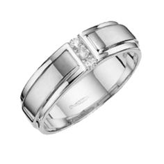 9ct White Gold Embossed Center 0.1ct  Diamond  6mm Ring