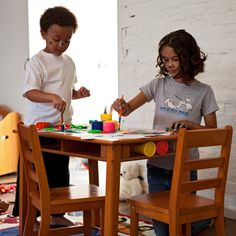 Lipper Childrens Rectangular Table and Chair Set - Super-sturdy and beautifully finished, the Lipper Childrens Rectangular Table and Chair Set is ideal for any child. This set includes a table and ...