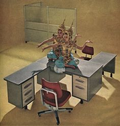 This one is also the wrong period, but I like the arrangement of the desks here.