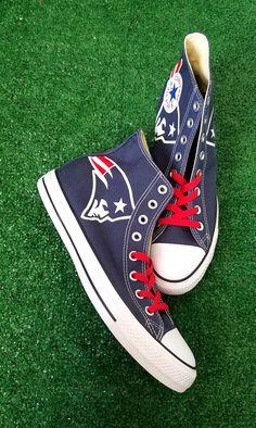 84da37717e8d2 Bandana Fever New England Patriots Print Custom Navy Converse High Top Shoes