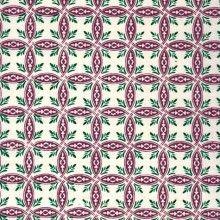 papier népalais fantaisie, fond naturel, impression de motifs géométriques pourpres et verts