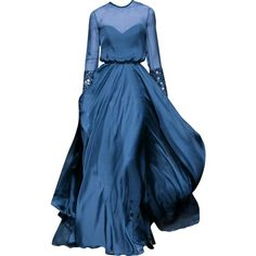 Georges Hobeika - edited by mlleemilee ❤ liked on Polyvore featuring dresses, gowns, long dresses, vestidos, blue evening gown, georges hobeika dresses, blue ball gown and georges hobeika