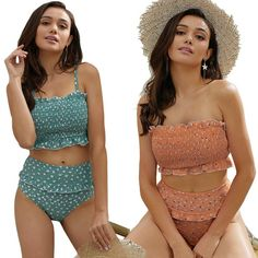 Flowers Printed High Waisted Triangle Two Piece Swimsuits – Fashionshoeshouse