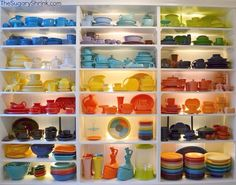Fiesta open shelves by the Sugary Shrink! I wish my dishes were this organized…