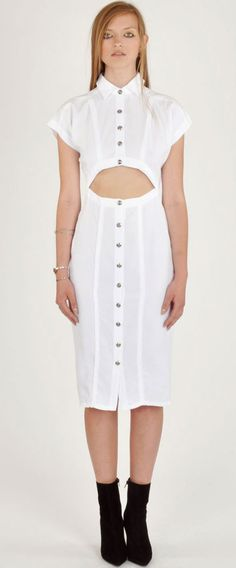 Wren White Open Front Shirt Dress
