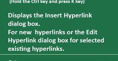 Excel Shortcut Keys: Ctrl + K (Insert Hyperlink)