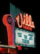 Former Villa move theater sign in Salt Lake City, Utah, at night. I saw all the Cine-rama movies there.