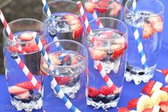 These fruit infused fruit waters would be perfect for a 4th of July party! ad