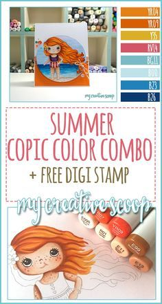 Free Summer Digi and Summer Copic Color Combo - My Creative Scoop Free Adult Coloring, Free Coloring Pages, Copic Markers Tutorial, Copic Art, Copic Sketch, Zentangle, Color Of The Day, Doodle, Alcohol Markers