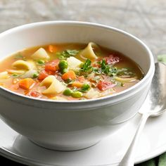 Beat the chill this season with pasta and vegetable soup.