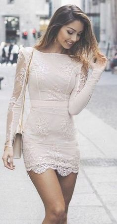 Nude Lace Little Dress                                                                             Source