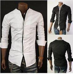 Men's Mandarin Collar Button-Up Shirt