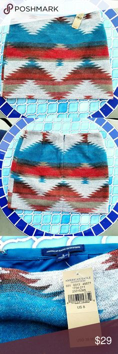 Aztec skirt! Stunning new & never worn aztec skirt!  Perfect for fall & winter.  Pairs well with cowboy boots or tights!  Shell is a wool/nylon/polyester/acrylic/other fiber blend.  Has lining underneath.  Lovely! American Eagle Outfitters Skirts Midi