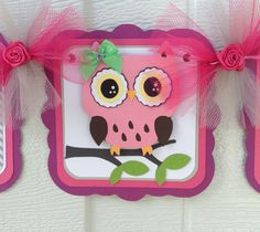 Pink owl baby shower banner its a girl by NancysBannerBoutique,