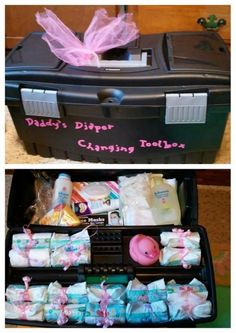 Making a daddy kit out of what he uses most. A tool box! Cute idea for a new daddy!