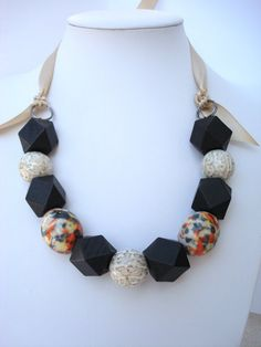 Chunky Necklace with Ceramic and Geometric Wood by tocijewelry, $33.00
