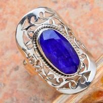 Brilliant Genuine 8 ctw Sapphire Filigree Ring~Solid 925 SS~Sz.7.75~Heirloom Ring! Sale!