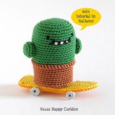 Cactus su uno skateboard  schema tutorial di HappyCoridon su Etsy