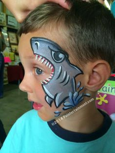 Simple face painting designs are not hard. Many people think that in order to have a great face painting creation, they have to use complex designs, rather then simple face painting designs. Shark Face Painting, Face Painting For Boys, Body Painting, Simple Face Painting, Easy Face Painting Designs, Animal Face Paintings, Animal Faces, The Face, Face And Body