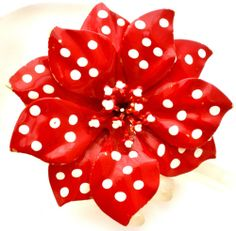 Vintage Red Enamel Flower Brooch Huge Retro Flower Power Polka Dot Dimensional | eBay ~ make with Polka Dot fabric