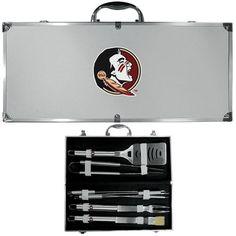 Florida St. Seminoles 8 pc Stainless Steel BBQ Set w/Metal Case