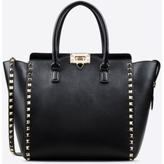Valentino Garavani Rockstud Double Handle Bag ($2,000) ❤ liked on Polyvore featuring bags, handbags, black, black purse, man bag, studded hand bag, handbags & purses and shoulder strap purses