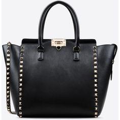 Valentino Garavani Rockstud Double Handle Bag (36,915 MXN) ❤ liked on Polyvore featuring bags, handbags, black, hand-bag, black purse, black handbags, black hand bags and black studded purse