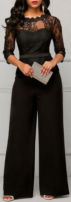 Peplum Waist Scalloped Neckline Lace Panel Black Jumpsuit - - Peplum Waist Scalloped Neckline Lace Panel Black Jumpsuit – Source by - Fashion Outfits, Womens Fashion, Fashion Trends, Ladies Fashion, Fashion Clothes, Fashion Usa, Gothic Fashion, Dress Fashion, Trendy Fashion