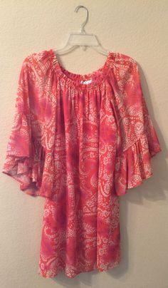930b15d41a2 Boho Dress Small Paisley Tunic Top Casual Print Shift Pink Orange Juniors