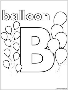B Is For Balloon Coloring Page | Abc coloring pages, Letter ...