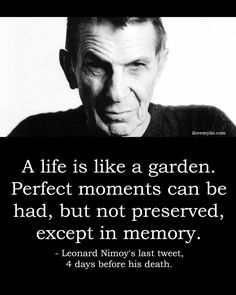 A life is like a garden. Perfect moments can be had, but not preserved, except in memory. ‪#‎LeonardNimoy‬