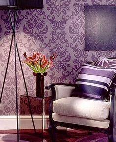 purple damask wall