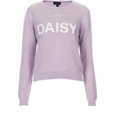 TOPSHOP Daisy Applique Jumper ($35) ❤ liked on Polyvore featuring tops, sweaters, topshop, jumpers, shirts, lilac, stitch sweater, purple sweater, rayon sweater and stitch shirt