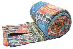 "Vintage Kantha Quilt Gudri Patchwork Throw Queen Size 90""x108"" India ID15394 #Handmade"