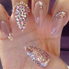 Stiletto Nails with added nail art. Fabulous Nails, Gorgeous Nails, Pretty Nails, Fancy Nails, Bling Nails, Stiletto Nails, Pink Sparkle Nails, Mauve Nails, Peach Nails