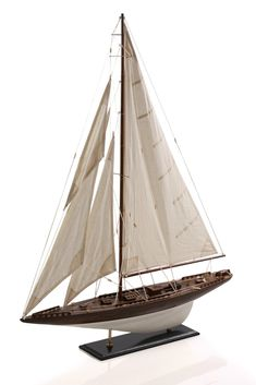 Four Sails Wooden Model Sailboat