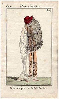 Journal des Dames et des Modes, 1799 Holy veil, Batman!  Gotta love that red bonnet, though…