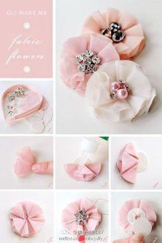 aprenda fazer: Flores de tecido (fabric flowers DIY)