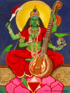 Matangi is one of the Ten Wisdom Goddesses of Tantric Hinduism. Matangi severs attachments, paving the way for more unorthodox and revolutionary forms of creation, knowledge and art. She is the Outcaste Goddess because she prefers to dwell outside the mainstream. She facilitates the manifestation of  Divine Unstruck Sound on earth in the form of human speech, literature and music. http://shaktisadhana.50megs.com/Newhomepage/shakti/maatangi.html