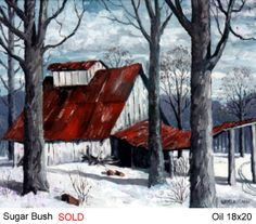 cabane à sucre Barn Paintings, Amazing Paintings, Sugar Bush, Sugaring, Mixed Media Artwork, Old Fashioned Christmas, Winter Landscape, Western Art, Winter Scenes