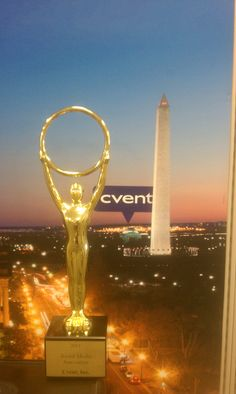 Cvent won Social Media Innovation in 2011. Their Markie sits in front of the Washington DC cityscape they have hanging in their marketing area. (They have a cityscape for each location where they have Marketing folks working - great idea!